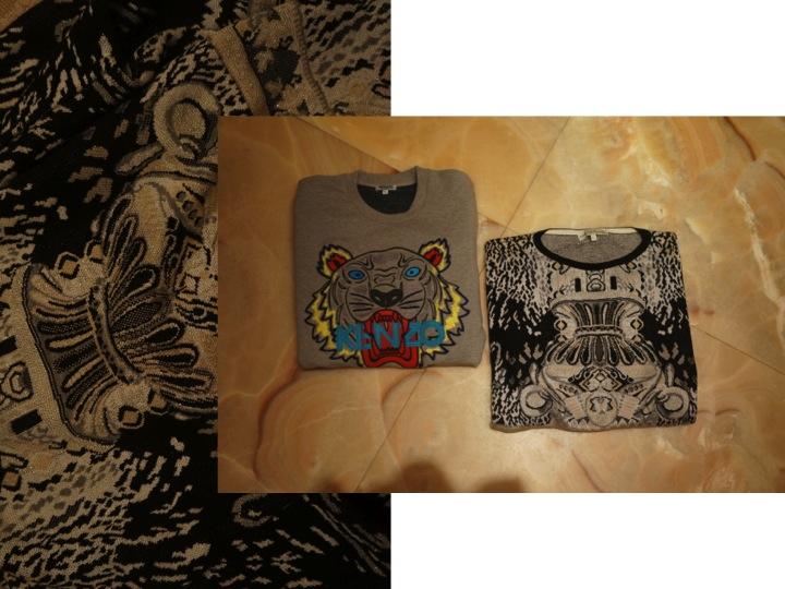 KENZO logo sweatshirt and MARY KATRANTZOU cashmere sweater