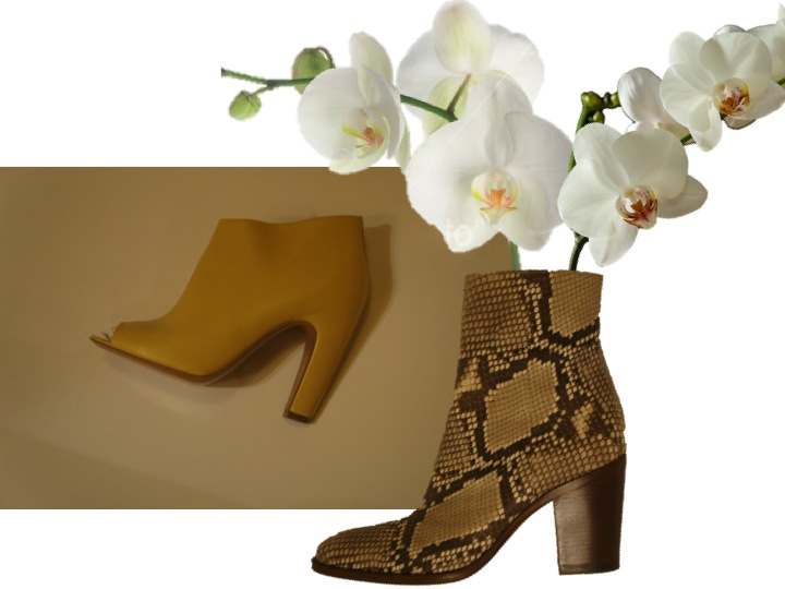 MAISON MARTIN MARGIELA yellow ankle boots and CELINE python ankle boots