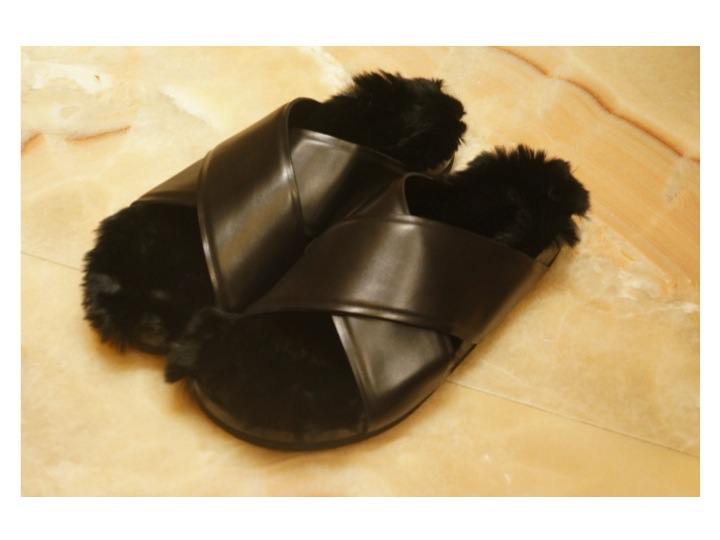 CELINE fur and leather sandals