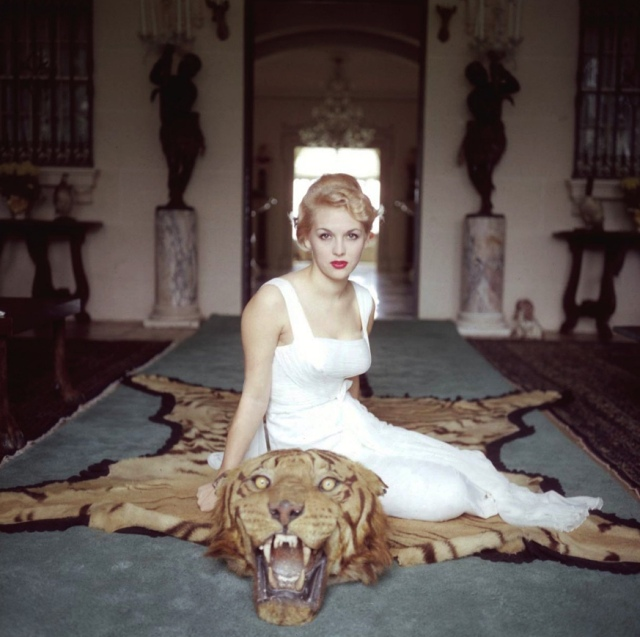 slim-aarons-lady-daphne-cameron-mrs-george-cameron-on-a-tiger-skin-rug-in-the-trophy-room-at-socialite-laddie-sanfords-home-in-palm-beach-florida-1959