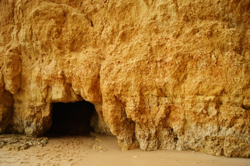 One of the beach caves in Alvor.